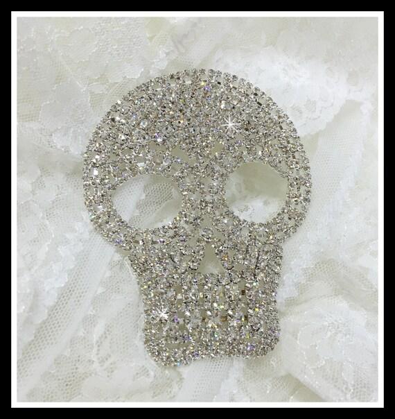 Rhinestone Skull Applique/ Skeleton Applique/ Halloween craft #0184