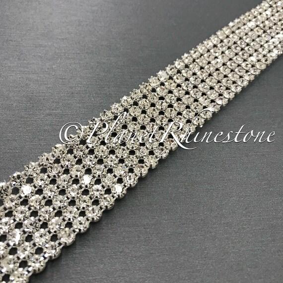 Silver Six Row Crystal Trim #T-4