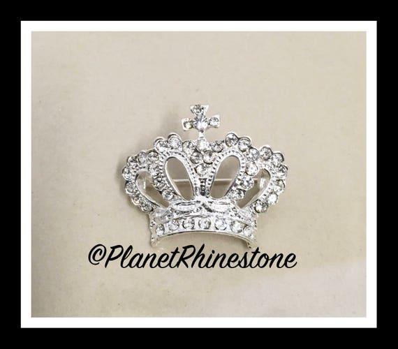 Crystal Rhinestone Crown Brooch #B-3