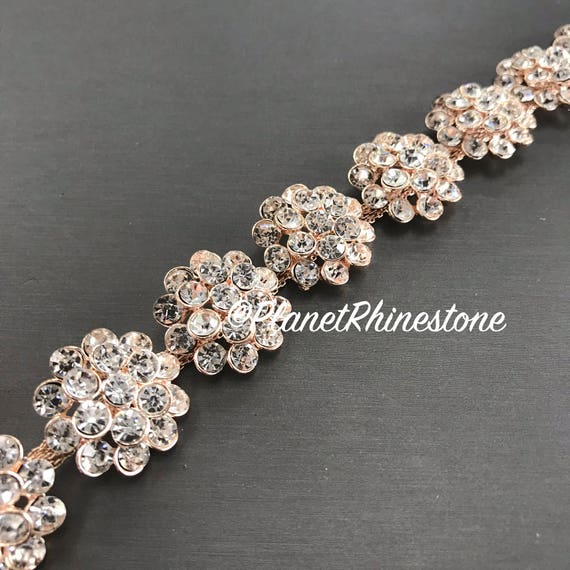 Rose Gold Floral Crystal Trim  #T-C