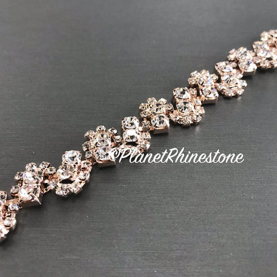 Rose Gold Rhinestone Trim #T-7