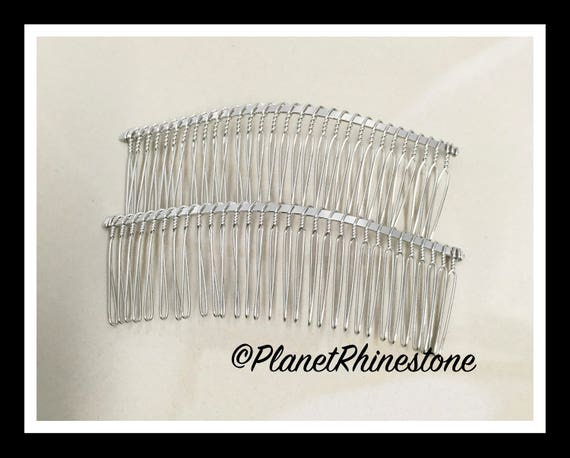 "Two Silver 4.5"" Hair Combs - DIY HAIR COMB - Metal Hair Combs - Bridal Veil Comb - Hair Fascinators - Hair accessories"
