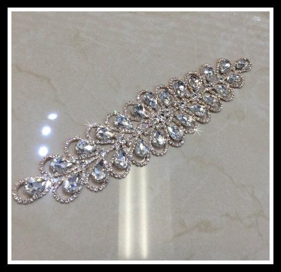 Crystal Bridal Applique, Bridal Sash, Rhinestone Applique, Swarovski Applique  (Silver, Rose gold) #A-11
