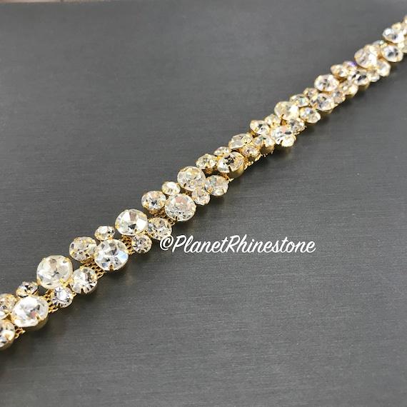 Gold Thin Bridal Rhinestone Trim #0136