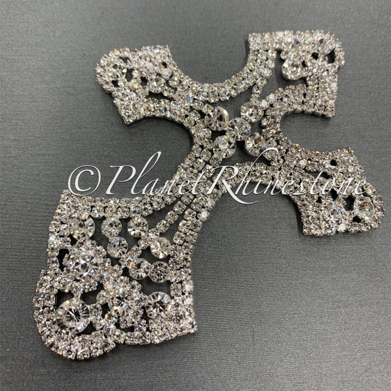 Silver Rhinestone Cross - Medium #CR-2