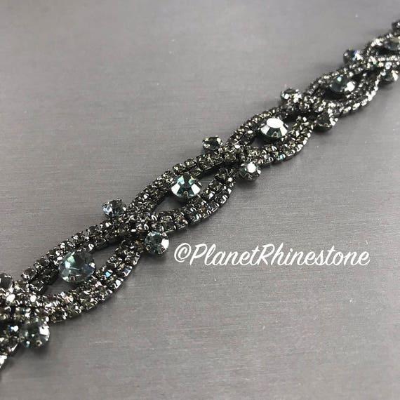 Black Braided Crystal Trim  #T-B