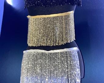 Beaded Fringe Trim | Rhinestone Fringe Trim | Colorful Fringe (Silver, Gold, Black)