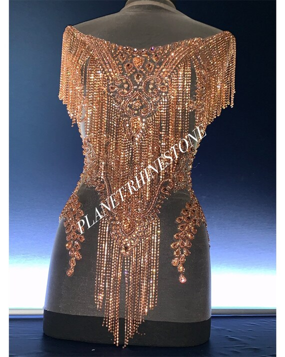 Rose gold waterfall bodice