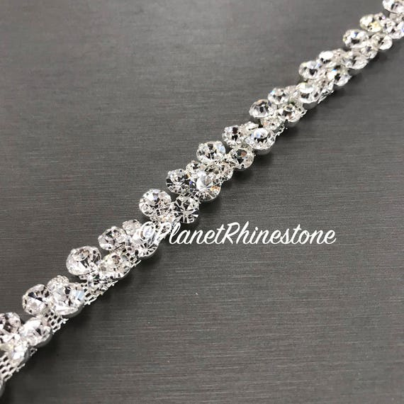 Silver Thin Bridal Rhinestone Trim #0136