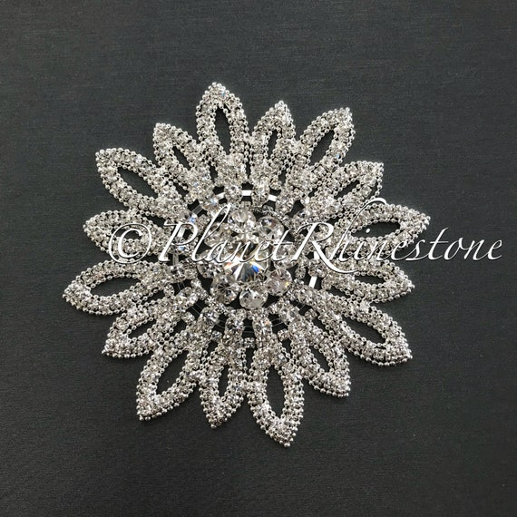 Silver Sunflower Crystal Applique #AS-18