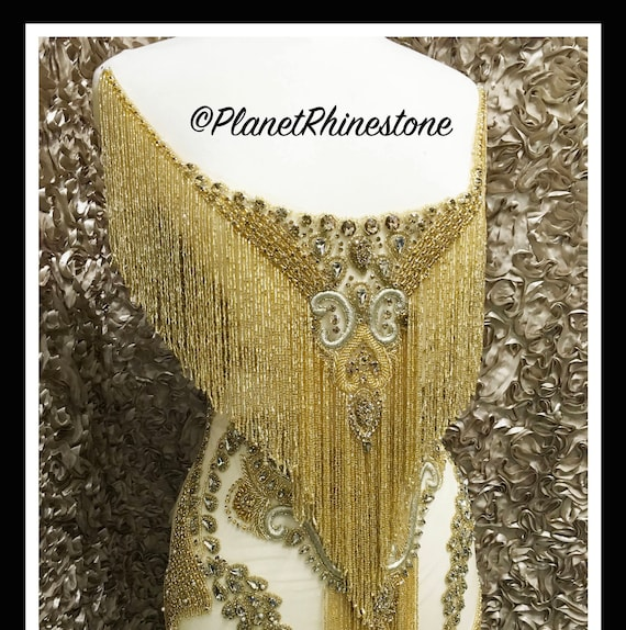 Gold Waterfall dangling bodice applique #F023