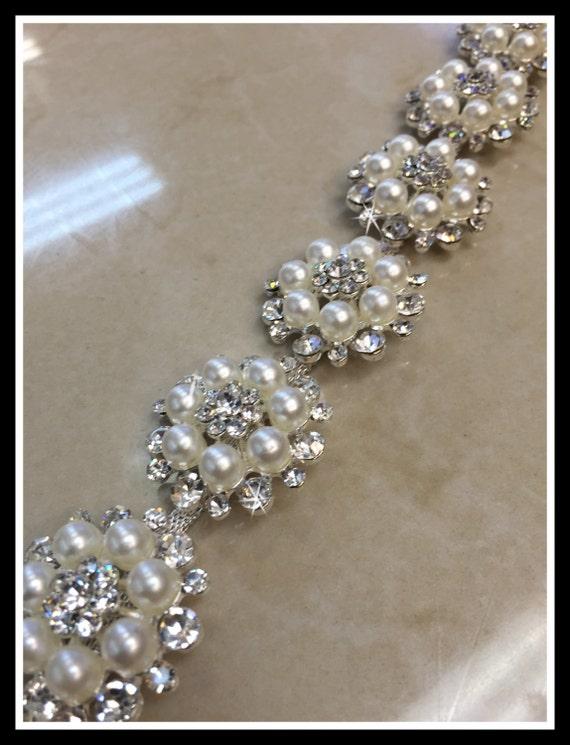Rhinestone Pearl Flower Bridal Trim, Trim by the Yard, Pearl Bridal Sash #0316