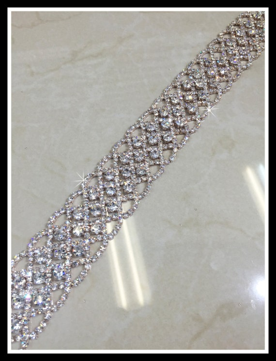 Rose Gold Bridal crystal trim #0512