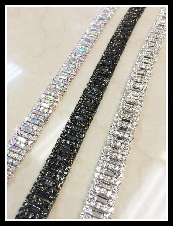1 yard Rhinestone trim/ Rhinestone Chain/ Formal gown belt/ Swarovski shine #0190