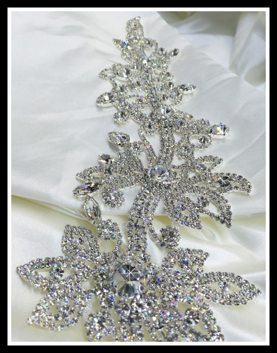 One of a kind elegant Rhinestone Bridal Sash Applique ~ Swarovski quality #0159
