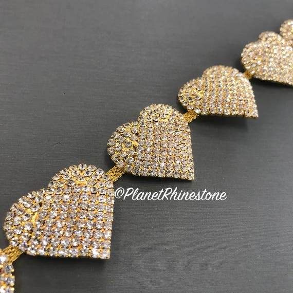 Gold Heart Crystal Trim  #T-H