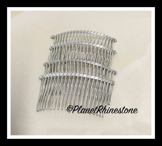 "Four Silver 3"" Hair Combs - DIY HAIR COMB - Metal Hair Combs - Bridal Veil Comb - Hair Fascinators - Hair accessories - headpiece"