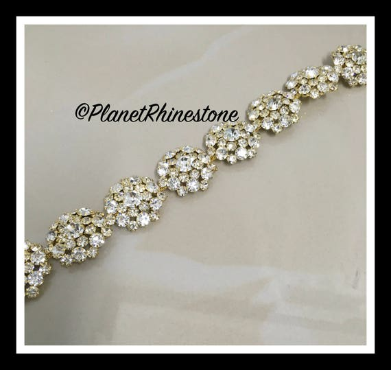 1 yard  Large Flower Rhinestone Trim (Silver, Rose Gold, Gold) #T-6