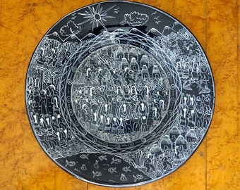 Hand Painted Folk Art Story Plate