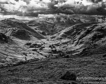 The Langdale Valley, UK Lake District, Black and White