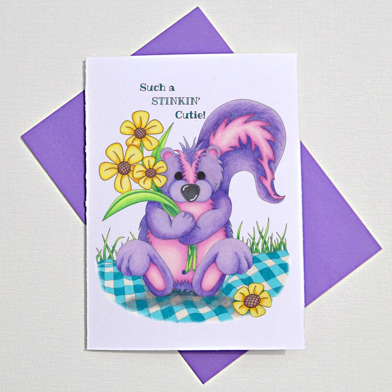 new baby greeting card funny animal card baby card congratulations on your baby greeting card baby gifts stinker cute skunk punny card