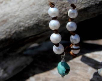 Freshwater Pearl Bracelet with Turquoise Charm - 6425-17