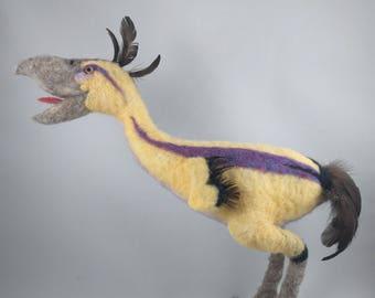 Needle Felted Animal, Yellow Terror Bird Sculpture