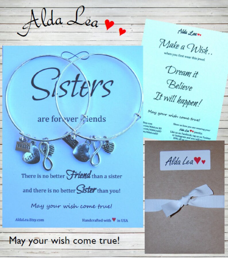 Sister Bracelet Make a Wish Bangle Infinity Wish Charm Bangle Sister Gift Inspirational Quote Card Sisters Forever Friends Christmas Gift