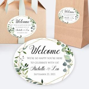 Printed Favor Label  Wedding Welcome Box Sticker  Gift Bag Label  Hotel Gift Basket  Oval Sticker  Greenery in Geometric Shape  GEOG18