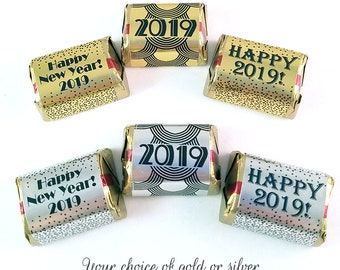 30 new years stickers for hersheys nugget chocolate candy holiday party favor gold or silver candy label 2019 new years wedding