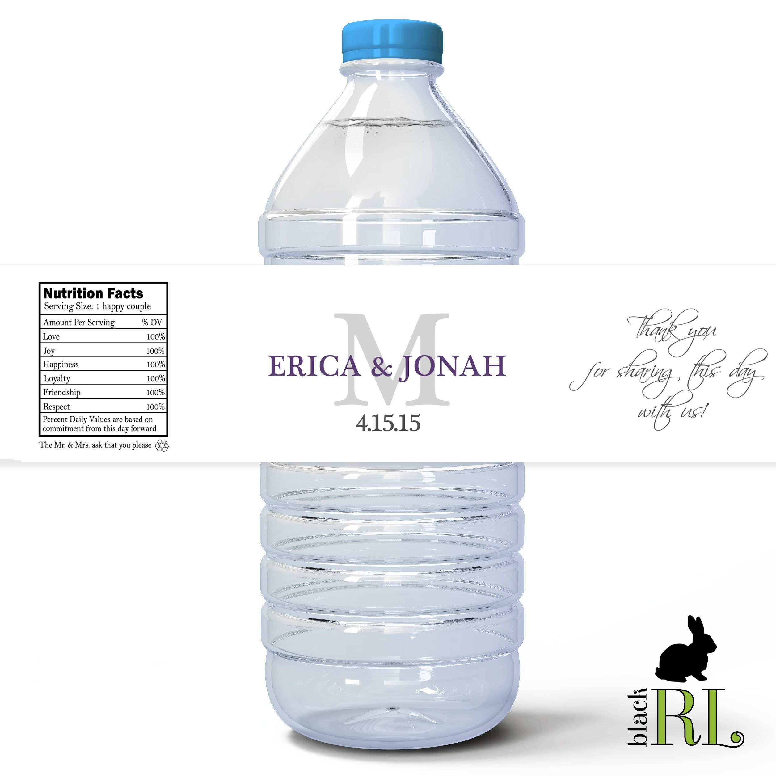 Printed Water Bottle Labels Personalized 2x8 5 Etsy