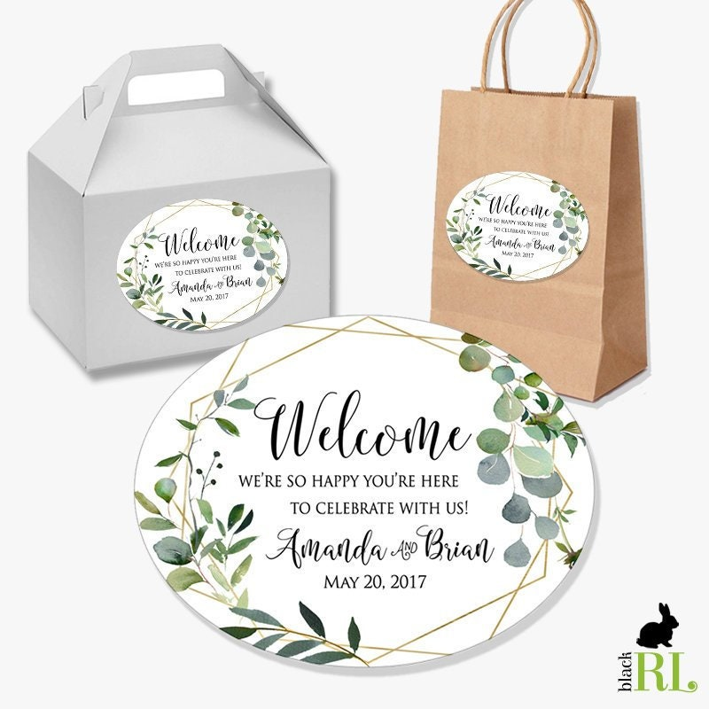 Wedding Labels For Gift Bags: Wedding Welcome Box Favor Stickers / Gift Bag Label