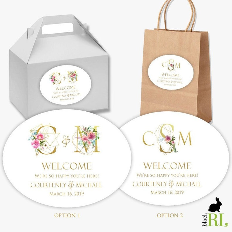 Printed Wedding Welcome Box Favor Stickers Gift Bag Label Etsy