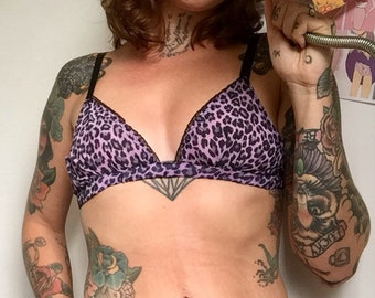 7d7ff5ef2f Purple Leopard Print Untamed Chiffon Handmade Soft Cup Bralette  Bra   High  Cut 80 s Style Knickers  Panties Lingerie Set Limited Edition