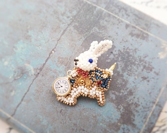 Alice in Wonderland - Rabbit brooch - made with beads motif  -Free  shipping