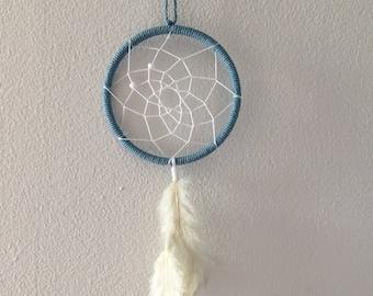 Baby blue and white dreamcatcher, small blue dreamcatcher, white dreamcatcher, feather dreamcatcher, boho dreamcatcher