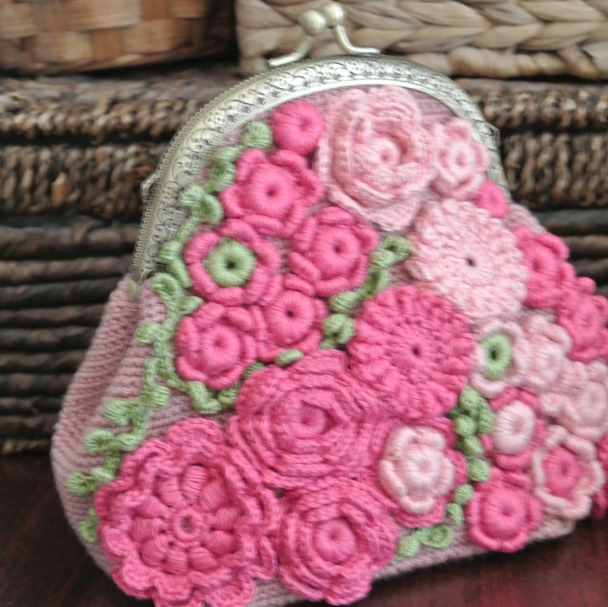 Crochet Purse Lace Clutch Irish Crochet Bag Floral Makeup Etsy