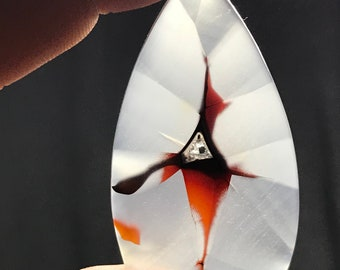 Turkish red  banded agate cabochon