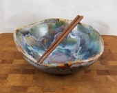 Ceramic bowl with blue orange and green drip glaze Handmade pottery Ready to ship