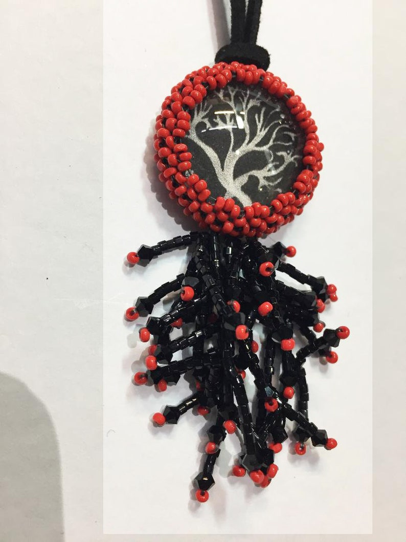 Red Black & White Beaded Necklace with Coral Image image 0