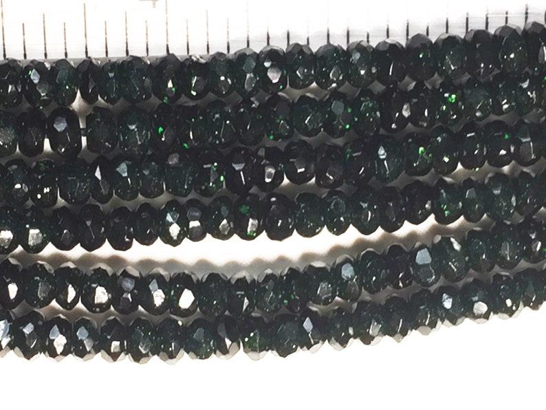 Green Goldstone Faceted Rondelles image 0