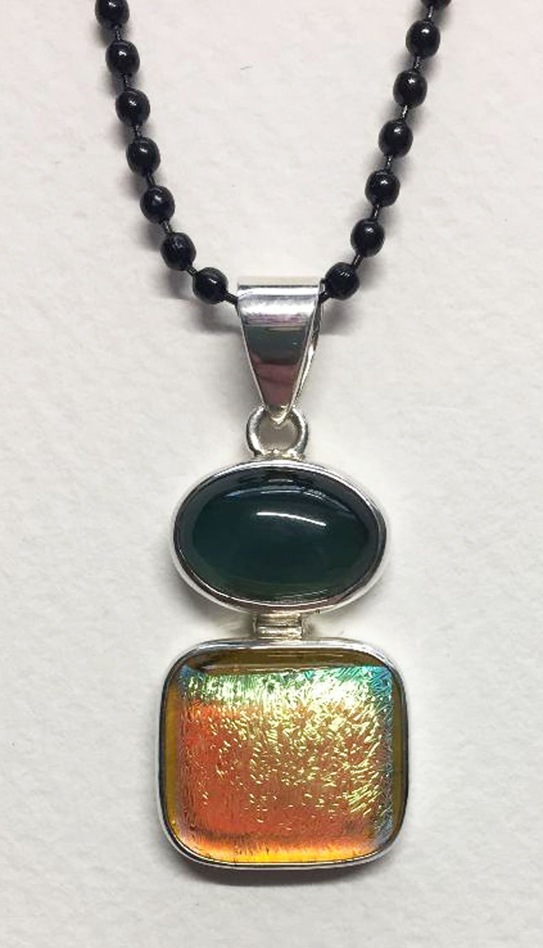 Dichroic Glass & Mood Stone Silver pendant image 0