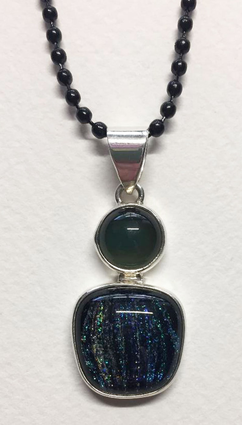 Dichroic glass and Mood Stone Pendant image 0