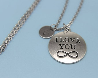 Silver I Love You Charm Necklace I Love You Charm Necklace  I Love You Necklace I Love You Gift  Initial  Charm Initial Necklace