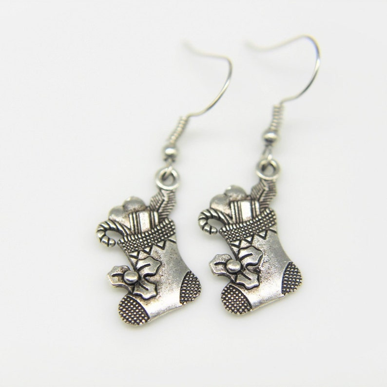 Christmas Socking Filled with Gift Earring Silver Christams Socking Filled with Gift Charm Earring Christmas Sock Gift  Personalized Earring