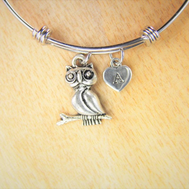 Owl Big  Charm Bracelet Owl Big Charm Bangle Owl Charm Owl Big Gift  Halloween Gift  Animal Charm Personalized Bangle Initial Charm