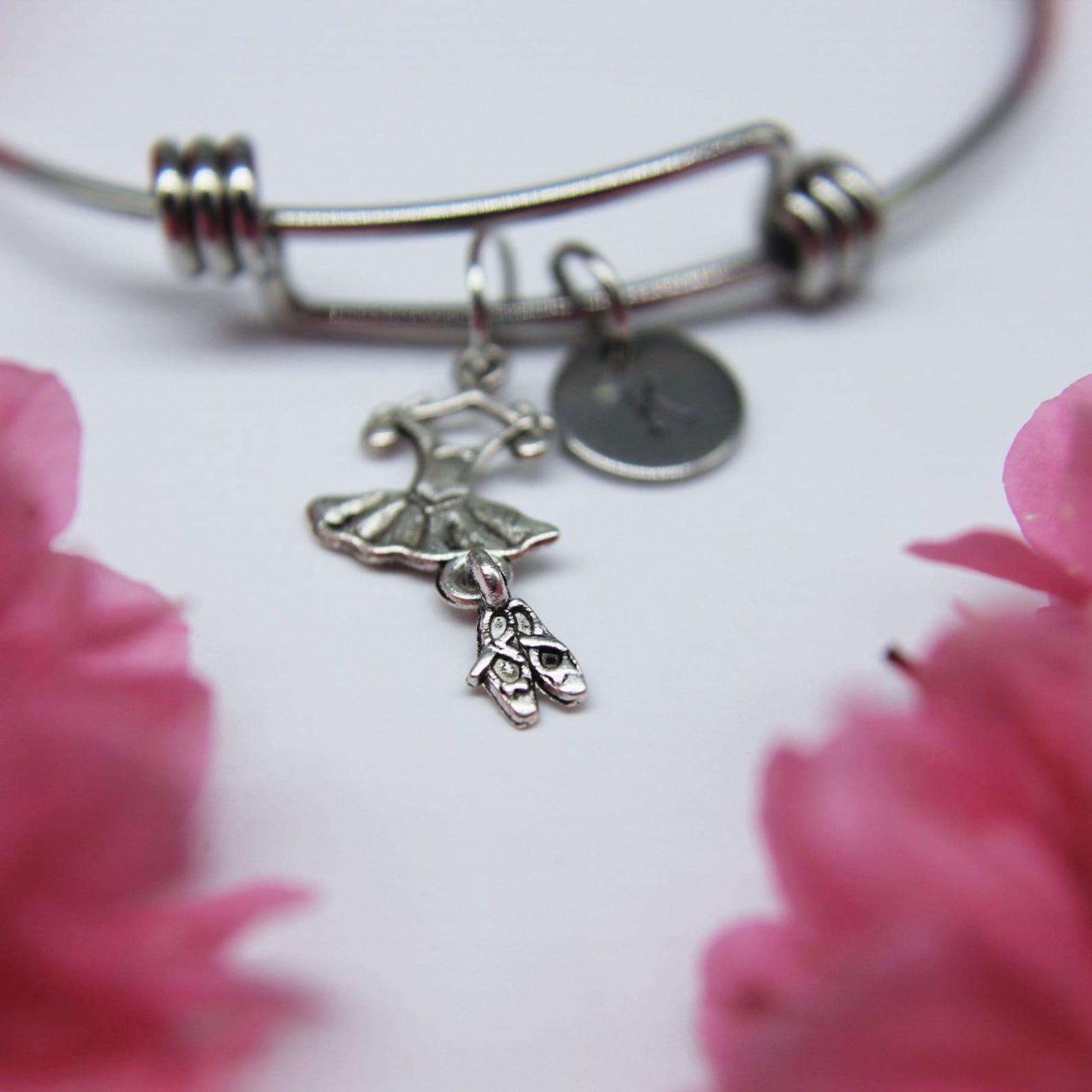 ballet bracelet ballerina bracelet ballet tutu charm tutu charm ballerina jewelry balllet gift personalized bracelet initial bra