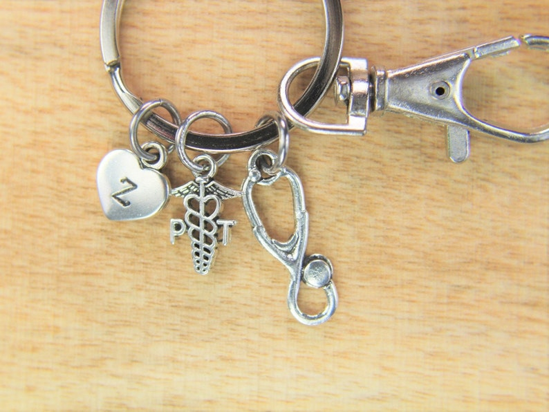 Physical Therapist Caduceus Keychain Doctor Nurse Gift PT Charm Medical Student Gift Stethoscope Gift Personalized Initial Keychain