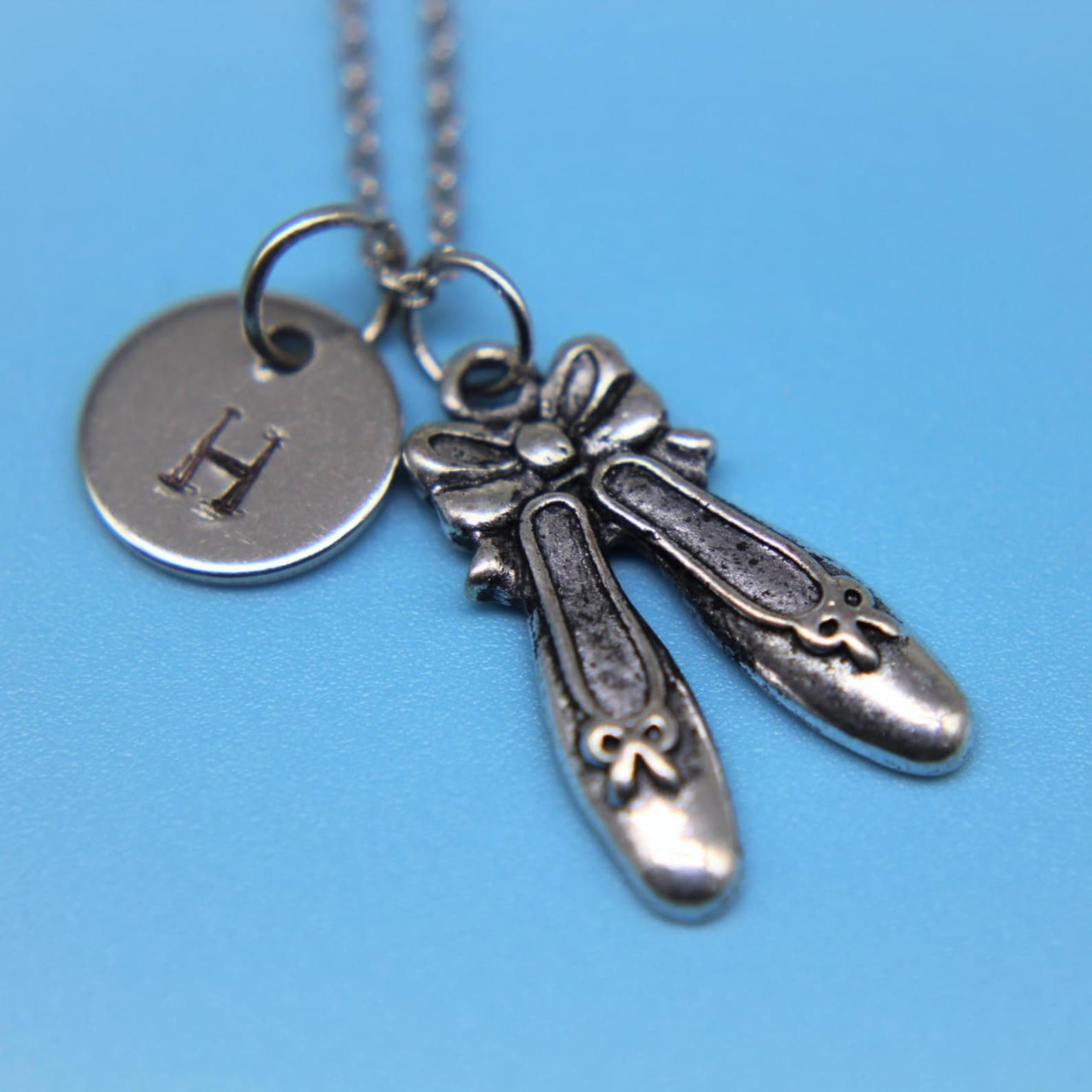 silver ballet shoes charm necklace dance charm personalized necklace initial charm initial nceklace customized jewelry
