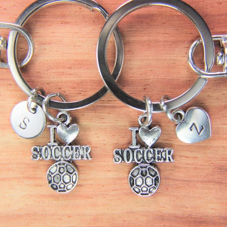 Set of 2  I Love Soccer Ball Charm Keychain Soccer Ball Keychain  Football Gift Soccer Team Gift Customized Jewelry Personalized Keychain